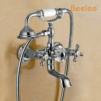 Beelee BL6002C New Golden Wall Mounted Bathtub Shower Faucet Telephone Style Shower Bath Mixer Taps