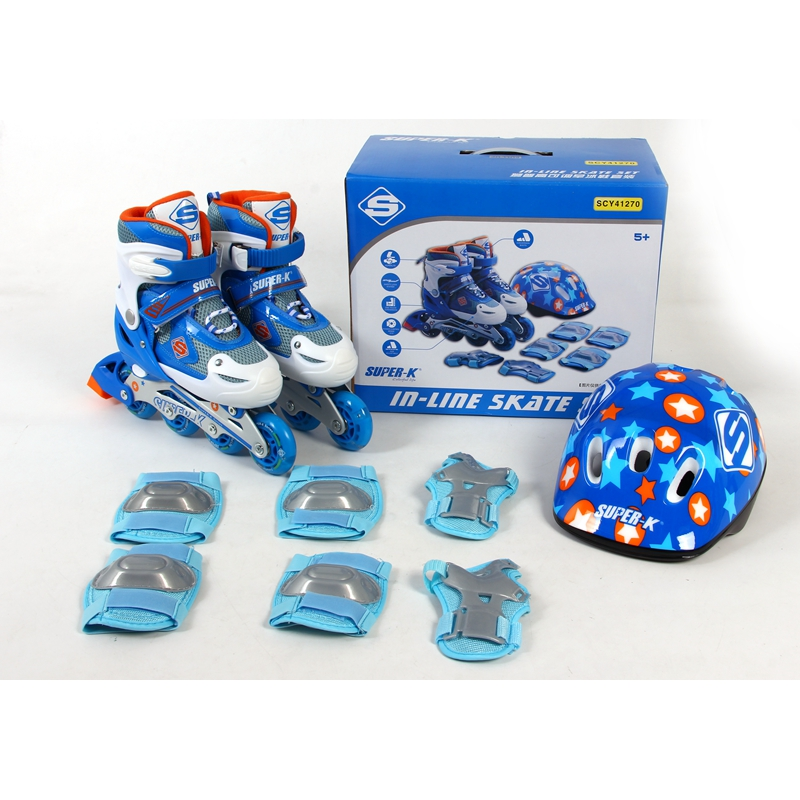 Gear Washable PU Wheel Boy Girls Inline Skates Adjustable Roller Shoes Combo Set in line skating shoes + Helmet Knee Protector