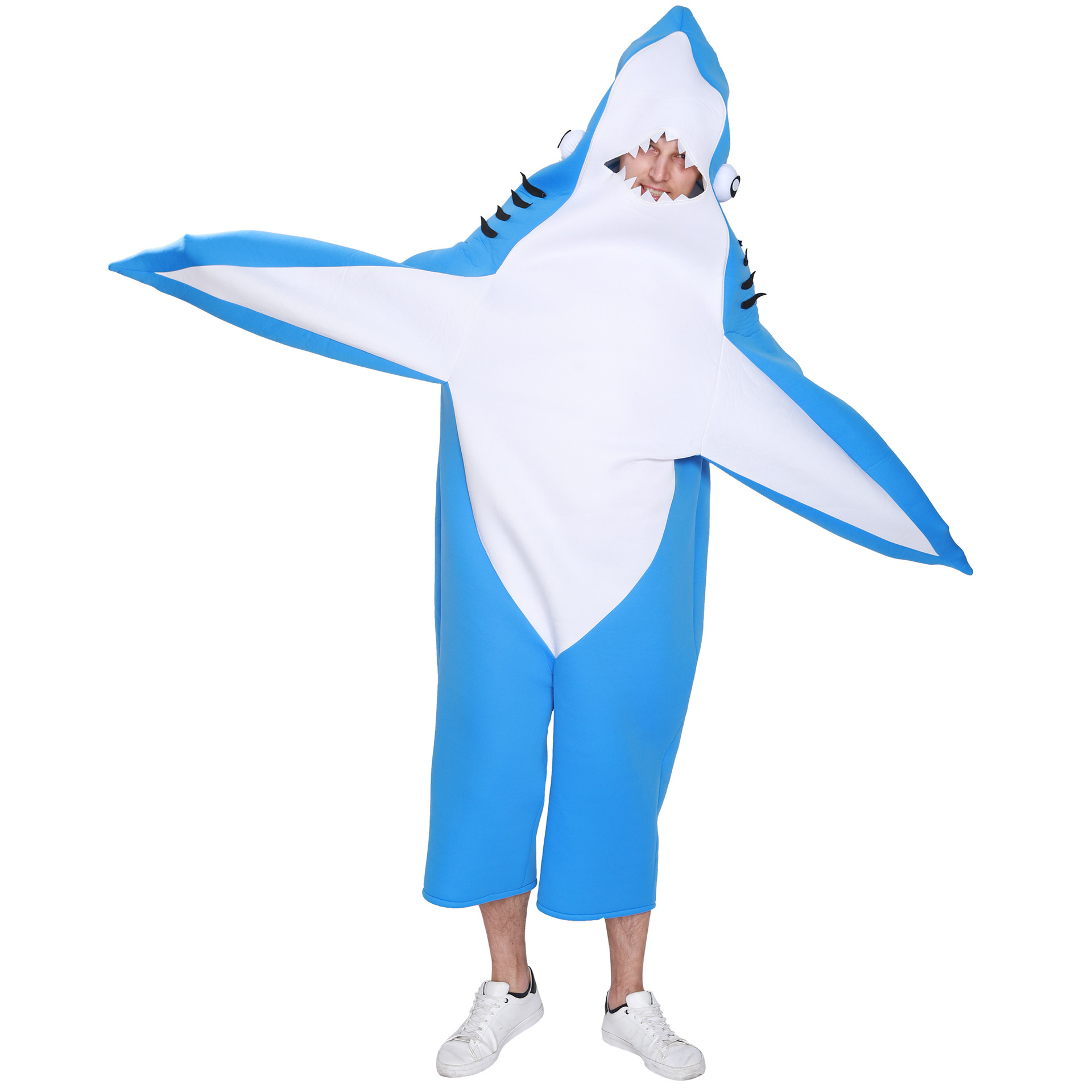 Men's Animal Shark Jumpsuit Halloween Costume Adult One Piece Carnival Party Cosplay Stage Christmas Fancy Dress