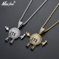 Missfox Hip Hop Cartoon Take Microphone Mics Pendant Necklace Full Lab Diamond Personalized Pendant For Christmas Gifts Necklace