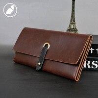 PUNKLADY New 2016 Men Famous Brands Italian Leather Brown Black Standard Luxury Clutch Wallets Vintage Business