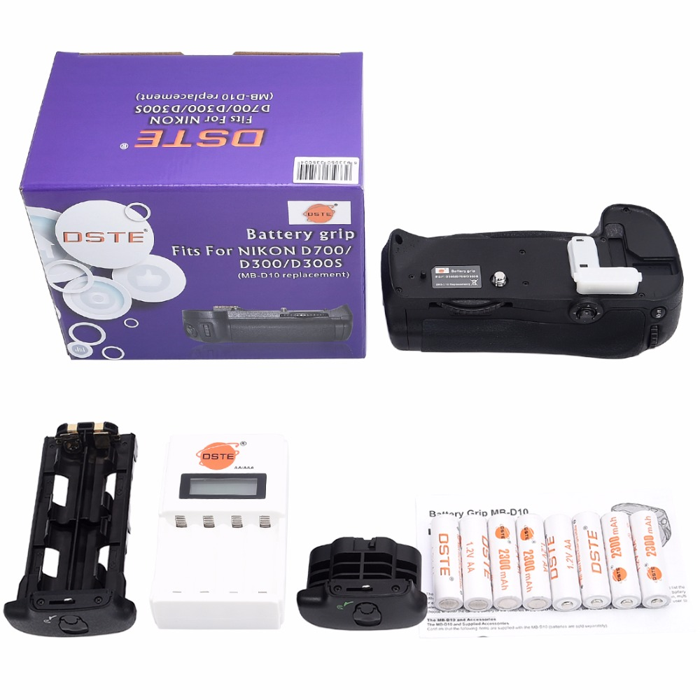 DSTE MB-D10 Battery Grip + 8x Rechargeable Batteries NI-MH AA Battery + Charger for Nikon D700 D900 D300 D300S DSLR Camera dste 3pcs sl 360 ni mh battery for spectralink pts360 9031 mdw9030p mdw9031 ptb400 ptb710 ptb810 ptb81650