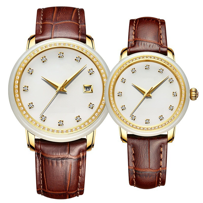 2020 Watches With Diamond Insert Calendar Automatic Mechanical Leather Strap Manufacturers Customized Jade
