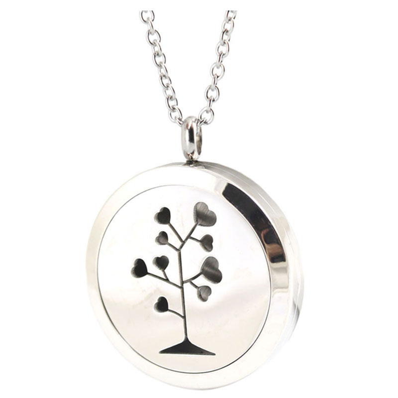 10pcs 30mm Round Silver Heart Tree of Love Aromatherapy Oils Stainless Steel Perfume Diffuser Locket Necklace Pendant