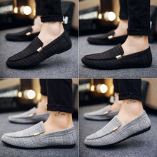New Fashion Men's Shoes Spring Style Canvas Men Loafers Comfortable Leather