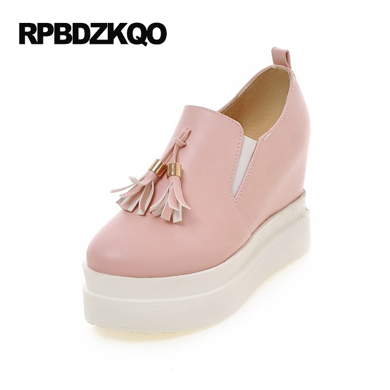 Super Platform High Heels White Wedge Shoes Tassel Ladies Pink Pumps Ultra Hidden Cheap Creepers Round Toe Extreme Fringe Spring black ladies cool casual pumps wedge korean slip on high heels suede creepers big size 4 34 green platform shoes round toe