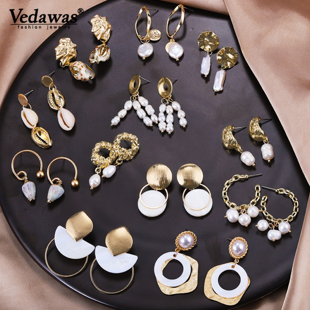 Vedawas Drop-Earrings Jewelry Shell Real-Freshwater-Pearl Gifts Party Wedding Women Fashion