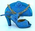 Африка Мода PU Обувь И Сумка Установить Летний Стиль Высокие Каблуки обувь И Сумка Набор Для Партии Платье Бесплатная Доставка Небесно-Голубой MM1008