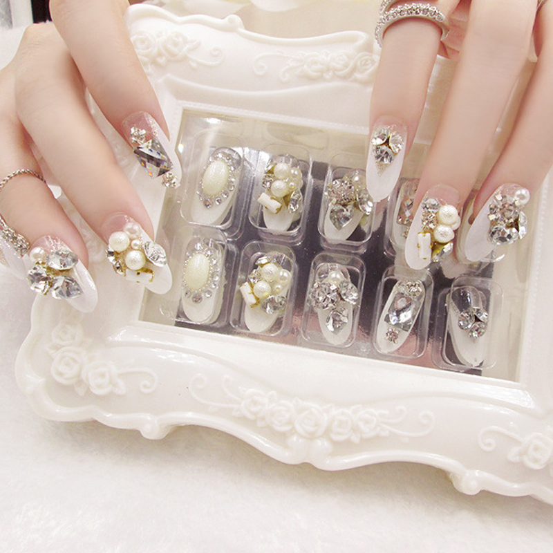 24pcs A30 Design Acrylic 3D Wedding Style False Nail Tips Large bling  diamond Gem Rhinestones patch decoration tools-in False Nails from Beauty    Health on ... d66d0a7a949d