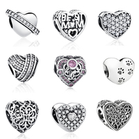 Aliexpress 100 925 Sterling Silver Love Heart Beads Fit Original Pandora Charm Bracelet Authentic Luxury DIY