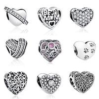 Aliexpress 100 925 Sterling Silver Love Heart Beads Fit Original Pandora Charm Bracelet Authentic Luxury DIY