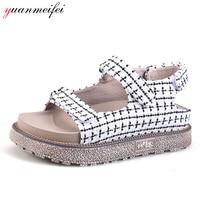 Yuanmeifei Women S Sandals Shoes Ladies Open Toe Black White Canvas Wedges Shoes Platform Size 34