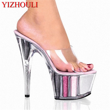 Waterproof thick bottom transparent lady's high heel slippers, catwalk show 15 cm sandals, model show slippers