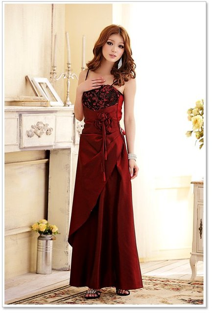 Free Shipping! 2012 New Banquet Elegant Evening Dress Long-Length Dress Flower Wine Red Wholesale and Retail