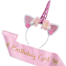 Unicorn Headband Birthday Girl Sash Satin Silk Party Decoration 1st Baby Shower Rainbow Supply