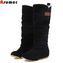 new 2017 fashion female woman knee high boots flat heel nubuck leather motorcycle women boots autumn boots autumn winter shoes