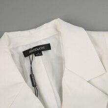 HYH HAOYIHUI Brand Solid White Color Belt Blazer Notched Ladies Long Sleeve Suit Blazer Elegant Office Women Autumn Slim Blazer