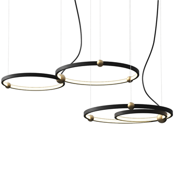 Industrial wind Iron circle led chandelier Nordic modern creative personality bar coffee restaurant round ring chandelier