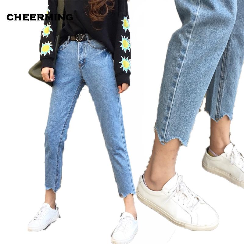 vendita economica comprare a buon mercato alta moda US $17.64 30% di SCONTO|2017 Autunno Pantaloni Denim Pantaloni Jeans di  Estate Fidanzati Scuola Stile Esposizione Vita Sottile Jeans Larghi Haren  ...