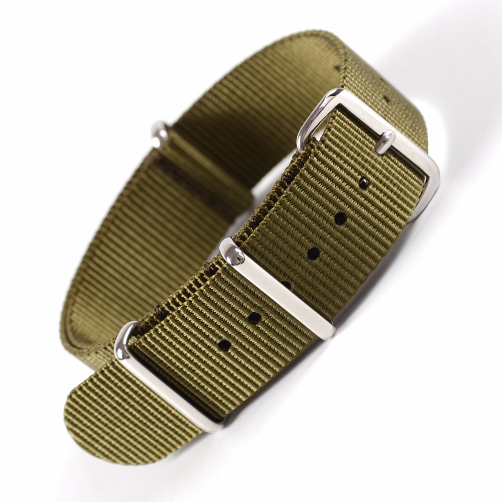 EACHE High Quality Nylon NATO Watch Band straps  With Stainless Steel Silver Buckles 20mm