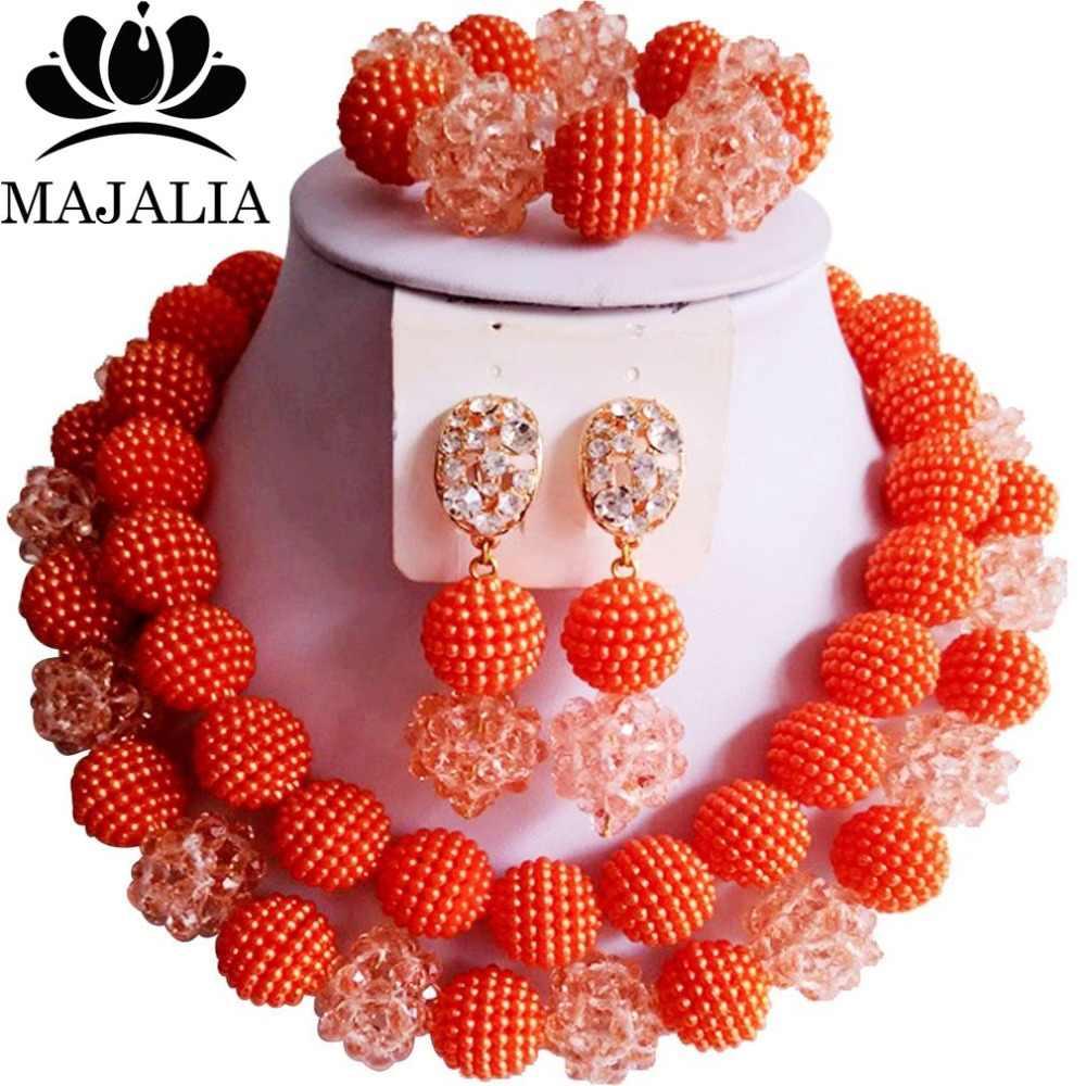 Mode nigeria hochzeit orange afrikanische perlen schmuck-set kristall kunststoff perle halskette brautschmuck sets freies verschiffen vv-090