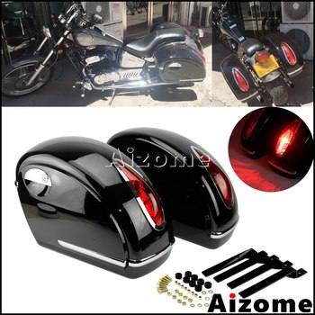 Universal Motorcycle LED Side Case Saddlebag Retro Side Pannier Tail Boxes For Harley Honda Yamaha Suzuki Touring Cruiser Custom motorcycle modification retro large fuel tanks pure color light curing paint without side hole for suzuki gn125