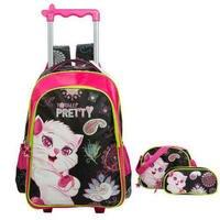 New Removable Trolley Bags Kids Cartoon School Bag 3PCS LOT School Backpack For Girls Children School