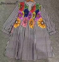 High Quality plaid dress women black and white autumn women dress vintage floral dress female
