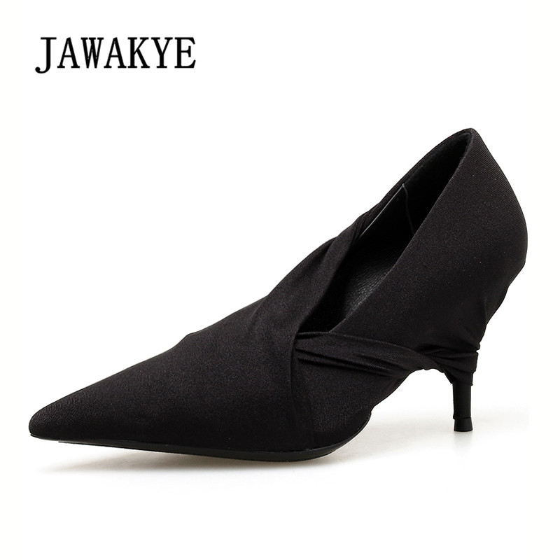2019 Hot Stretch Fabric High Heels Women Pumps Pointed Toe Sexy Thin Heels Shallow Shoes Black Red Fashion Ladies Party Shoes