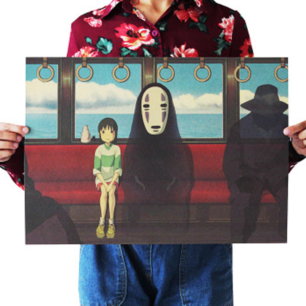 Spirited Away B/No Face man/classic Cartoon film/kraft paper/bar poster/Retro Poster/decorative painting 51x35.5cm