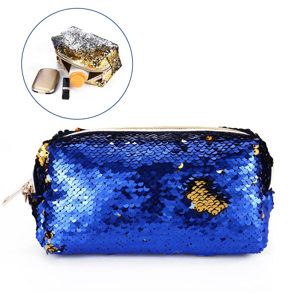 Women Sequins Glitter Makeup Case Travel Organizer Cosmetic Bags Zipper Mermaid Party Purse Pouch FC55