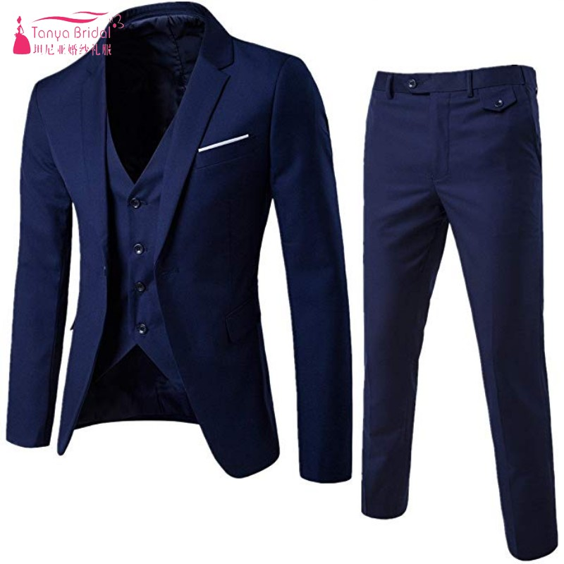 Men's Suit Groom Wear Slim Fit One Button 3 Piece Cloth Blazer Dress Business Wedding Party Jacket Groom Vest & Pants DQG895