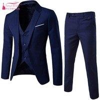 Men's Suit Groom Wear Slim Fit One Button 3 Piece Cloth Blazer Dress Business Wedding Party Jacket Groom Vest & Pants DQG895