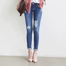 Новая коллекция весна и лето 2016 Корейский ковбой тонкий карандаш брюки носить стрейч джинсы для женщин