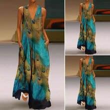 Женское длинное пляжное платье рубашка без рукавов с принтом