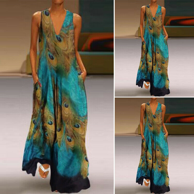 Women Sleeveless Peacock Print Long Maxi Dress Bohemia Summer Beach Shirt Dress