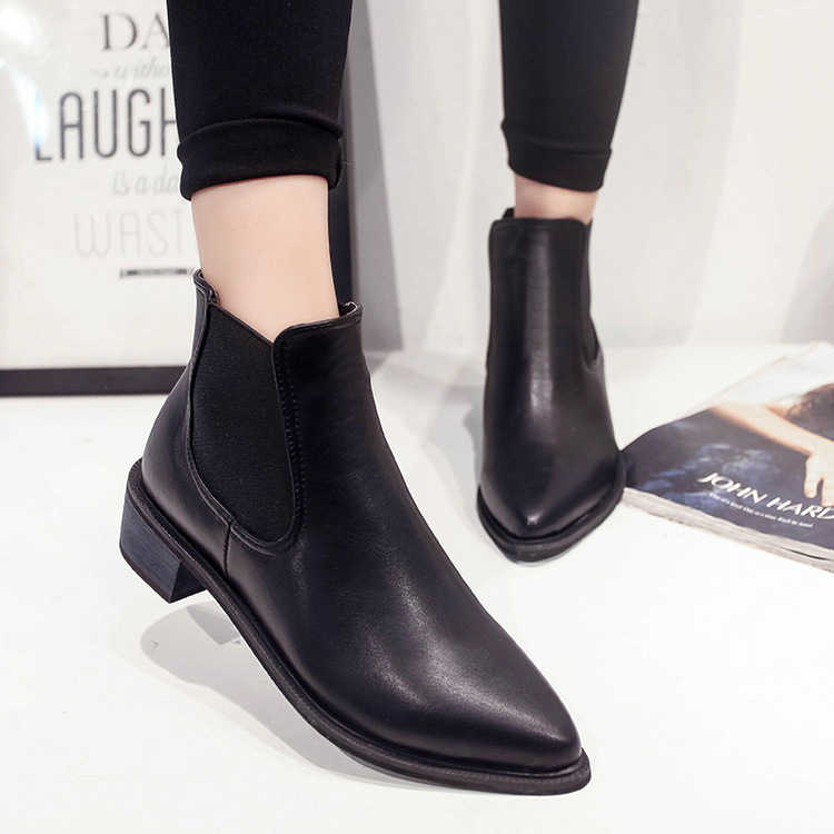 2018 Hot Sale New Women Boots Pointed Toe Black Ankle Boots Fashion Rivet  Autumn Winter Chelsea Boots Woman Black bd35a77417b3