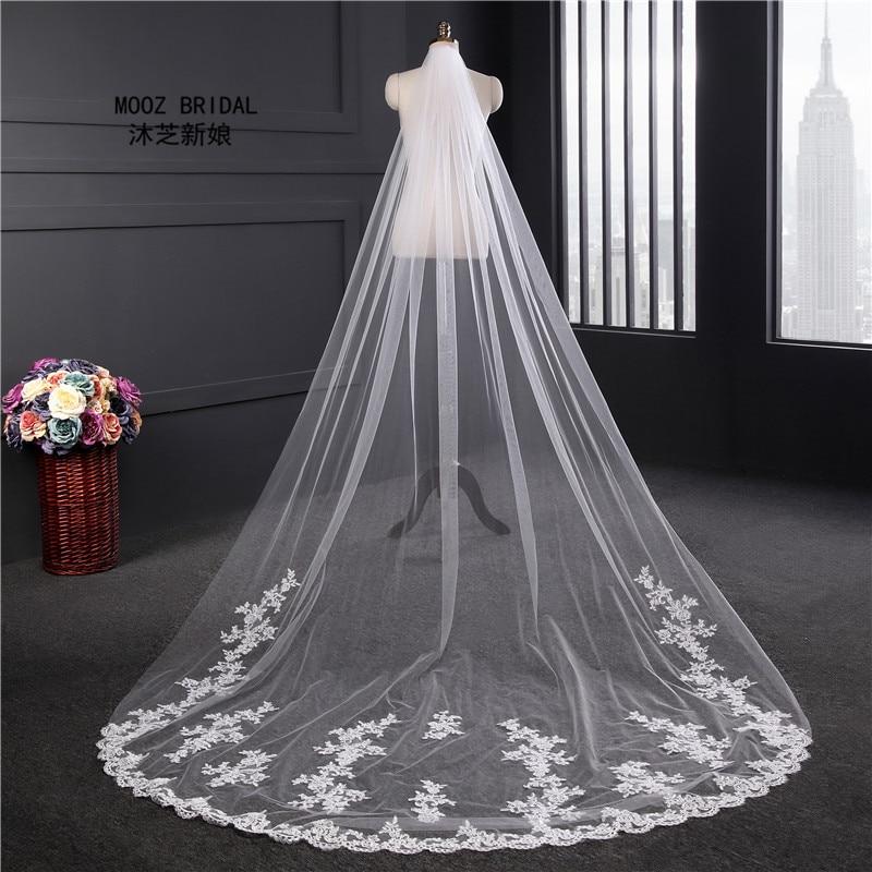 Real Wedding Veils 3m Long Lace Applique