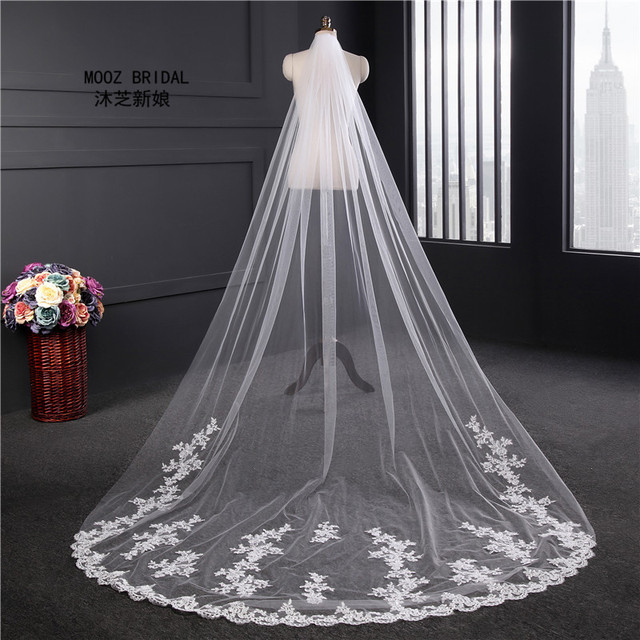 Real Images Wedding Veils 3m Long Veils Lace Applique Crystals One Layer Cathedral Length New Arrival On Sale Bridal Veils