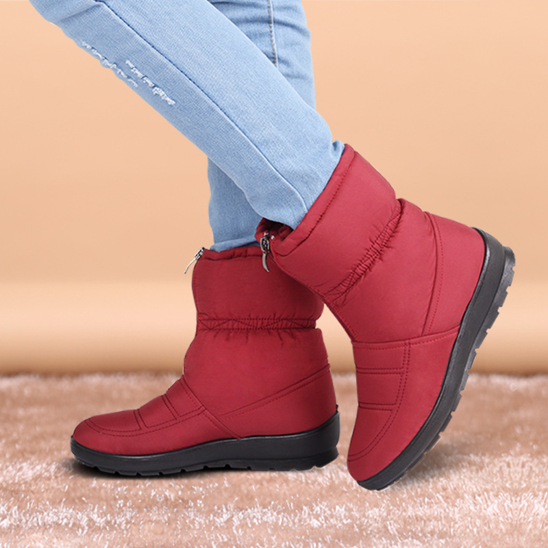 ФОТО Womens Boots Winter 2016 New Warm Fur Female Waterproof Ankle Mulheres Botas Shoes Cashmere Flat Zip Red Snow Boots Big Size 10