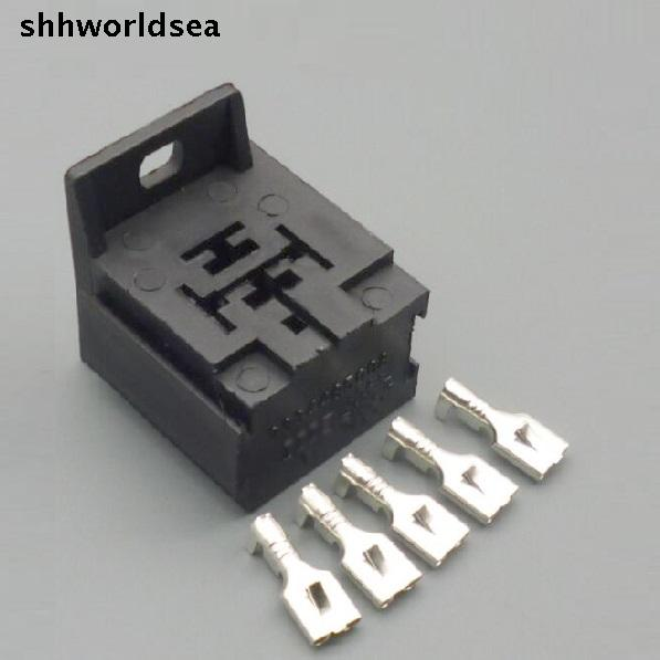 shhworldsea 10Sets 6.3MM car Relay Mount Holder Base suit 4 pin 5 pin automotive relays connector plug Car relay socket 12V 24V