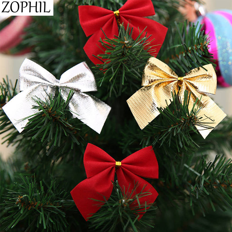 ZOPHIL 12pcs Merry Christmas Bows Christmas Tree