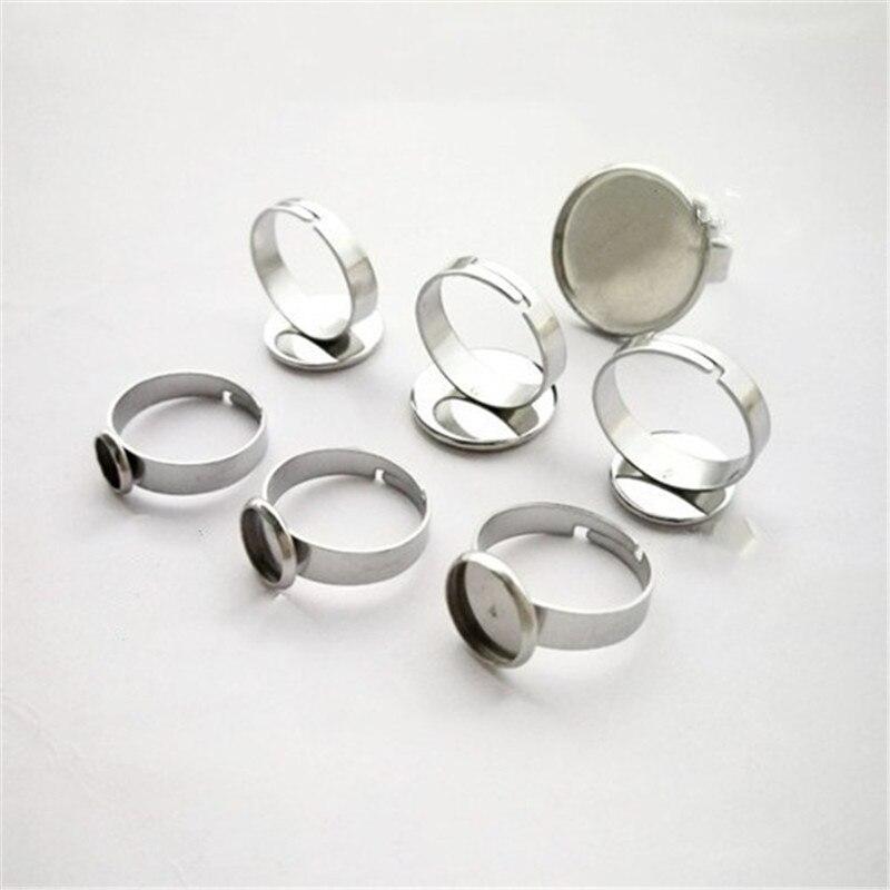 10 Stücke 316l Edelstahl Ringe Einstellungen Basen Lünette Tray Blank Basis Fit 6/8/10/12 /14/16/18/20mm Cabochon Cameo Diy Ring