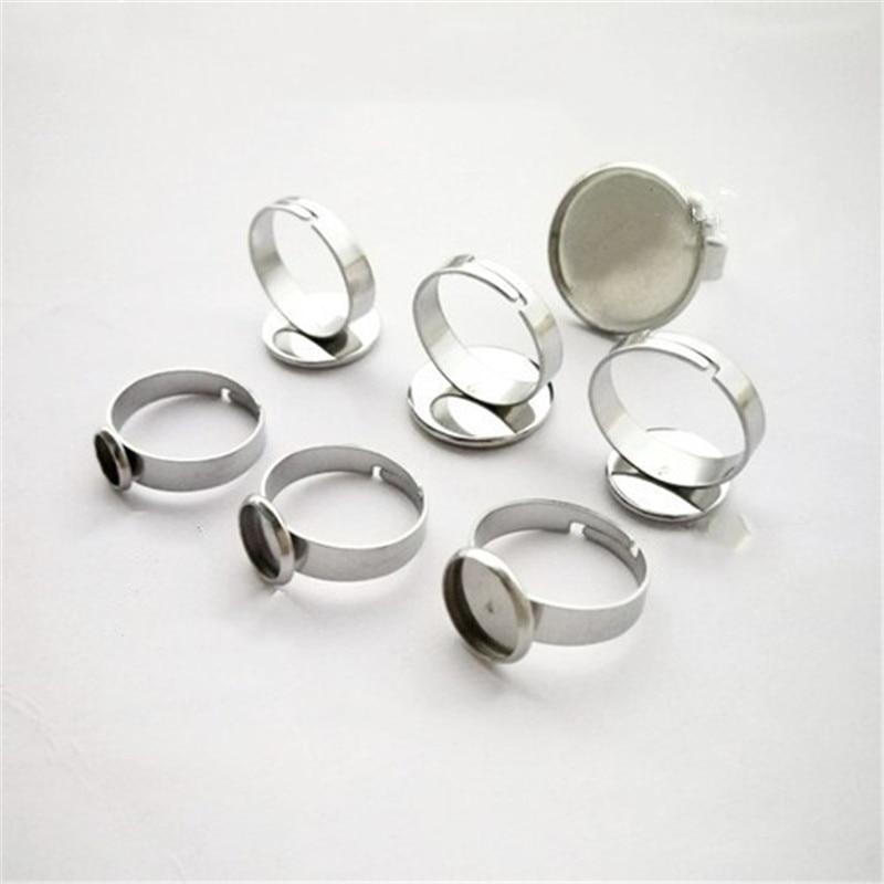 10pcs 316l Stainless Steel Rings Settings Bases Bezel Tray