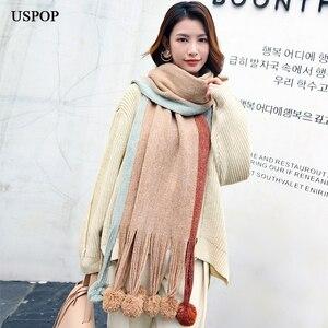 Image 5 - USPOPผ้าพันคอฤดูหนาวผู้หญิงผ้าพันคอแฟชั่นผ้าพันคอยาวการปิดกั้นสีPompoms Pashminaนุ่มWarmหนาฤดูหนาวผ้าคลุมไหล่