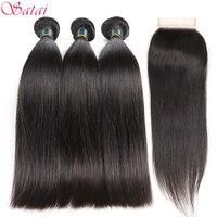 SATAI Brazilian Straight Hair Human Hair Bundles With Closure 3 Bundles With Closure Natural Color Non