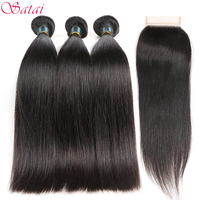 SATAI Brazilian Straight Hair Human Hair Bundles With Closure 3 Bundles With Closure Natural Color Non