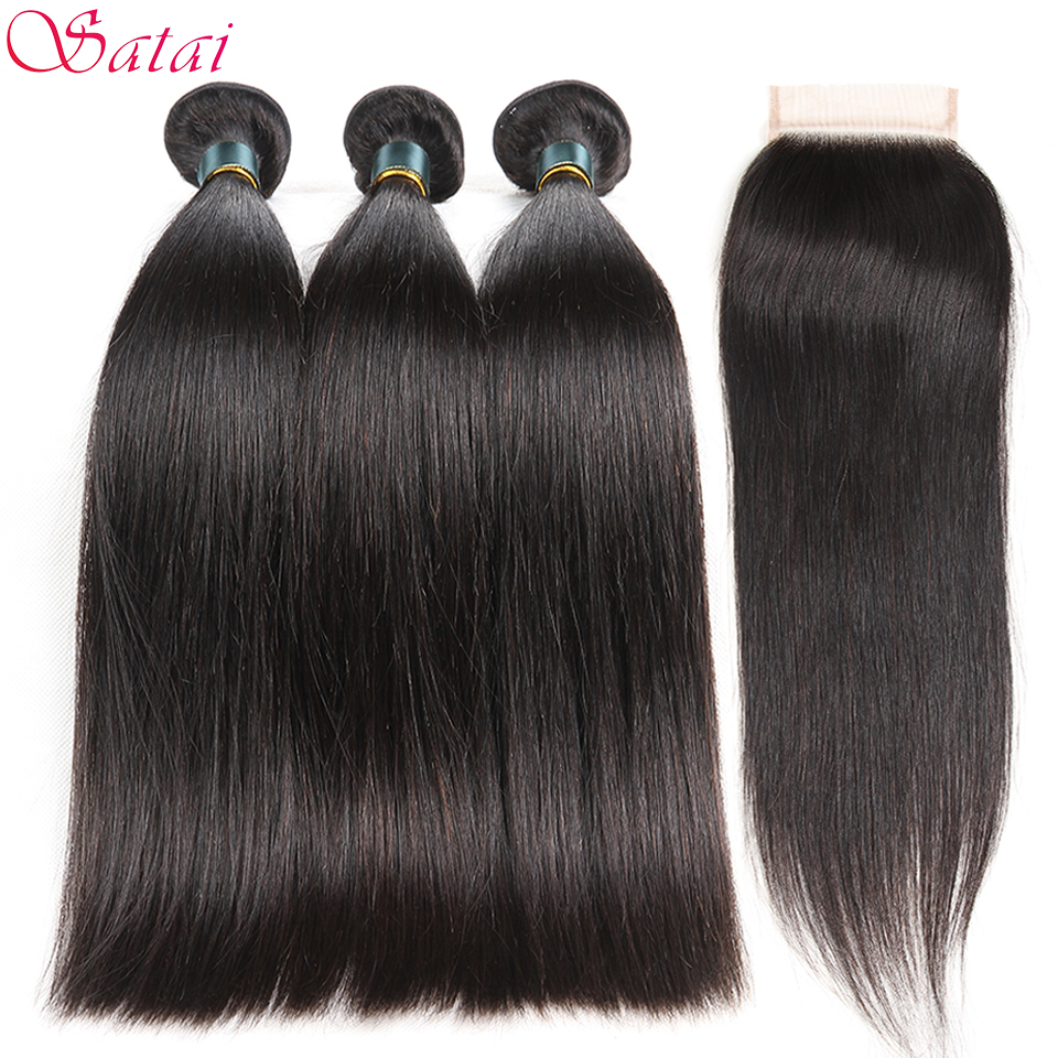 SATAI Brazilian Straight Hair Human Hair Bundles with Closure 3 Bundles With Closure Natural Color Non Remy Hair Extension