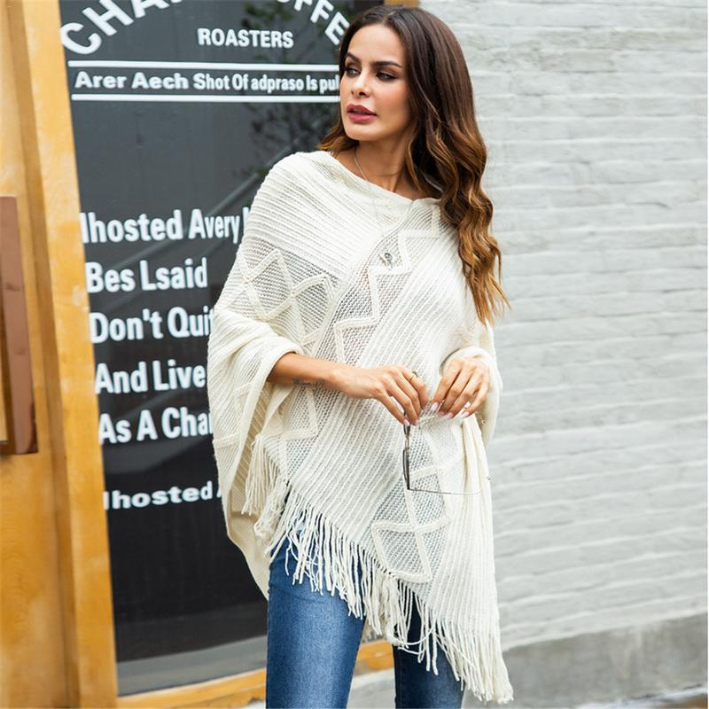 2018 Women Fashion Cotton Winter Scarf Women Soft Wool knitted Pashmina Warm Striped tassel Shawls female Red Black Poncho Capes