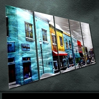 Modern Original Metal Citiscape Street Wall Art Abstract Painting In 5pieces Special Indoor Outdoor